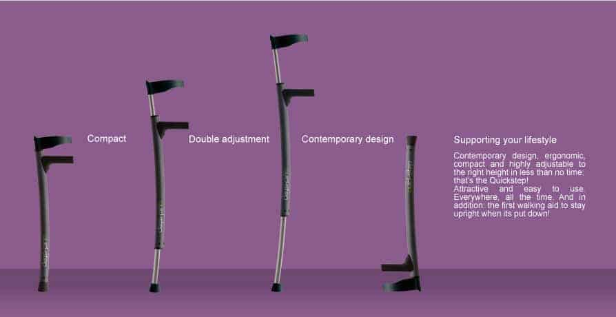 Graphic showing height adjustable arbin crutches - text reads: