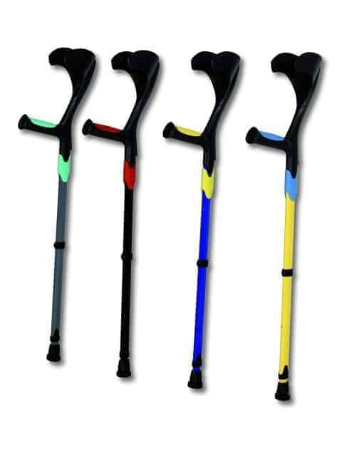 Image shows 4 crutches, upright on a white background, in colours of black, green, blue, yellow and red
