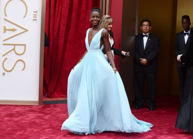 Lupita Nyon'o In Beautiful Baby Blue Prada