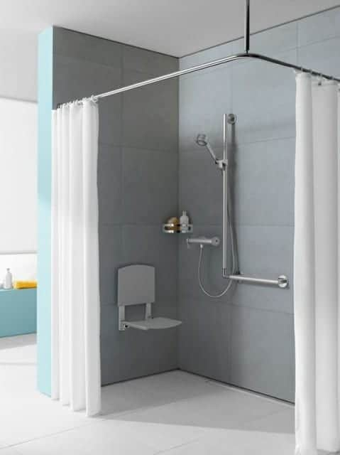 KEUCO Tip-Up Shower Seat with Backrest