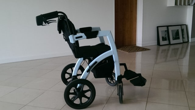 The Rollz Motion rollator converts into a wheelchair
